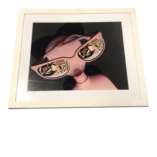 Framed Abstract Pink Woman With Glasses For Sale