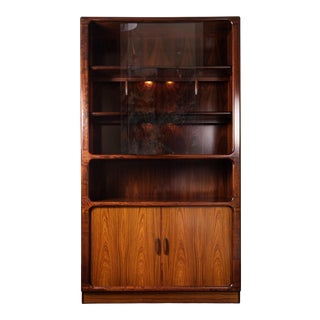 Vintage Danish Rosewood Dyrlund Bookcase With Tambour Doors For Sale