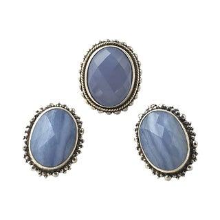 Dweck Blue Silver Earrings & Ring For Sale