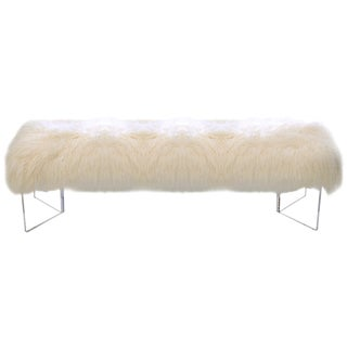 Le-Coterie Curly V Tibetan Lamb Fur Upholstered Lucite Acrylic Bench