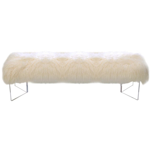 Le-Coterie Curly V Tibetan Lamb Fur Upholstered Lucite Acrylic Bench - Image 1 of 3