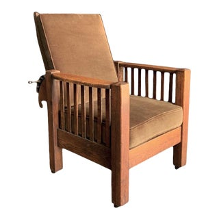 1920s Antique Craftsman Reclining Armchair For Sale