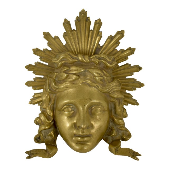 French Ormolu Louis XVI Fragment, The Sun King Head For Sale