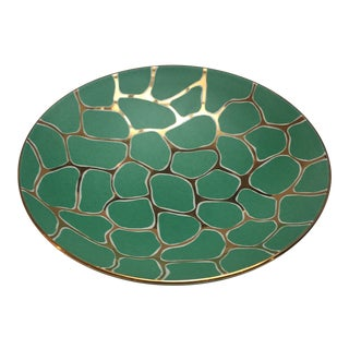 Contemporary Wayland Gregory Green Animal Print Bowl For Sale