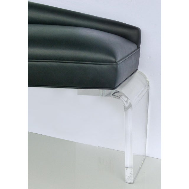 Modern Sculptural Tapered Chaise With Leather Upholstery & Lucite Legs For Sale - Image 3 of 9