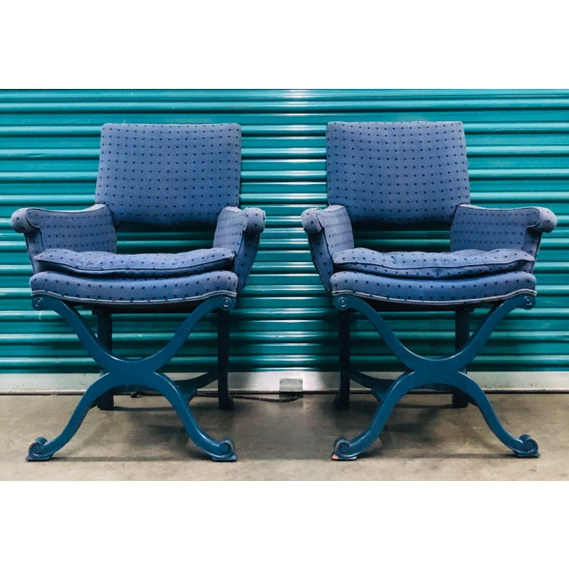 1950s Vintage Dorothy Draper Upholstered Campaign Chairs- A Pair For Sale - Image 10 of 10