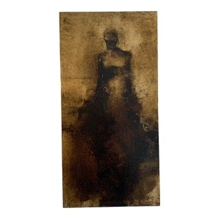 """""""Light"""" Contemporary Figurative Gold Leaf Painting on Wood Panel For Sale"""