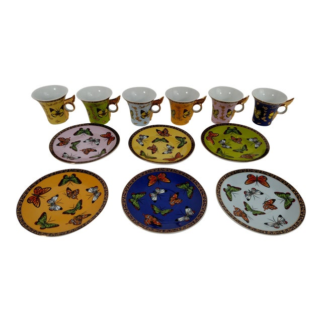 Porcelain Butterfly Cups & Saucers - S/6 - Image 1 of 8