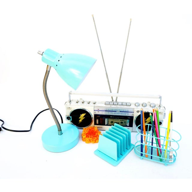 Vintage Turquoise Metal Desk Set 3-Piece Aqua Industrial Color Pop Task Lamp Mail Sorter Pen Caddy Mid-Century Modern...