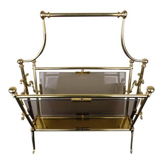 1960s Maison Bagues Brass & Smoked Glass Magazine Rack For Sale