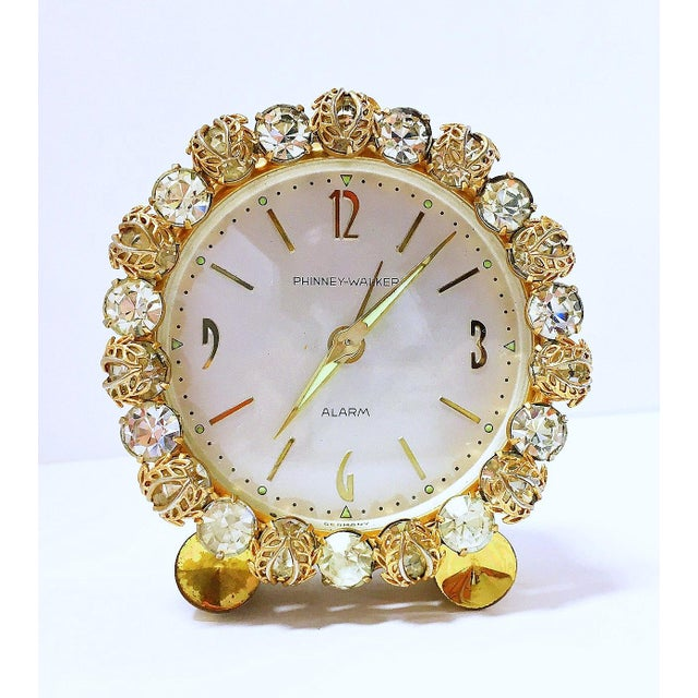 1930s Vintage Phinney-Walker Bejeweled Alarm Clock - Image 2 of 8