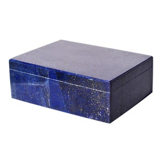 Blue Lapis Lazuli and Marble Stone Rectangular Decorative Jewelry or Trinket Box For Sale