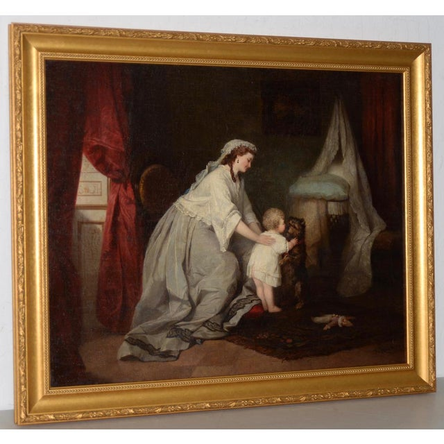 Robert Julius Beyschlag (Germany, 1838-1903) Mother & Child Oil Painting c.1870. Charming original oil painting by listed...