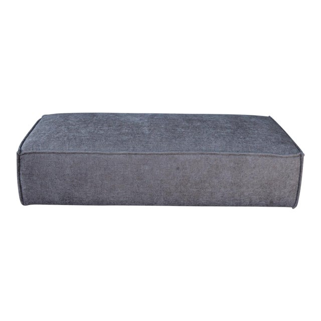 Modern Upholstered Gray Ottoman For Sale