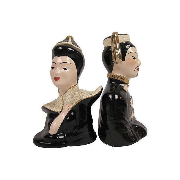 1940's Japanese Ceramic Busts - a Pair - Image 2 of 3