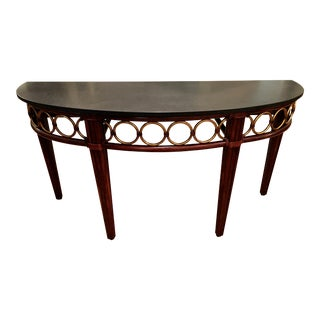McGuire Furniture Co Marble Top Demilune Console Table