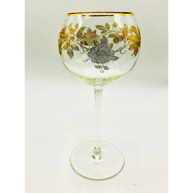 Early 20th Century Antique French Baccarat Gold Encrusted Needle Etch Crystal Hock Glasses- Set of 6 For Sale - Image 9 of 13