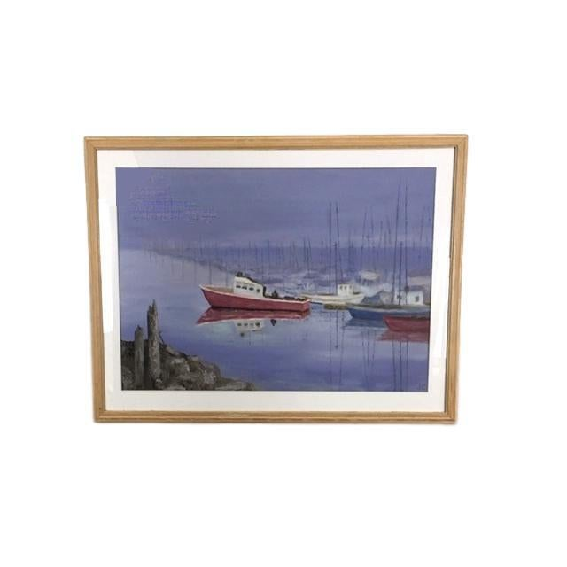 Vintage Oil Painting of Boats in a Harbor For Sale In Seattle - Image 6 of 6