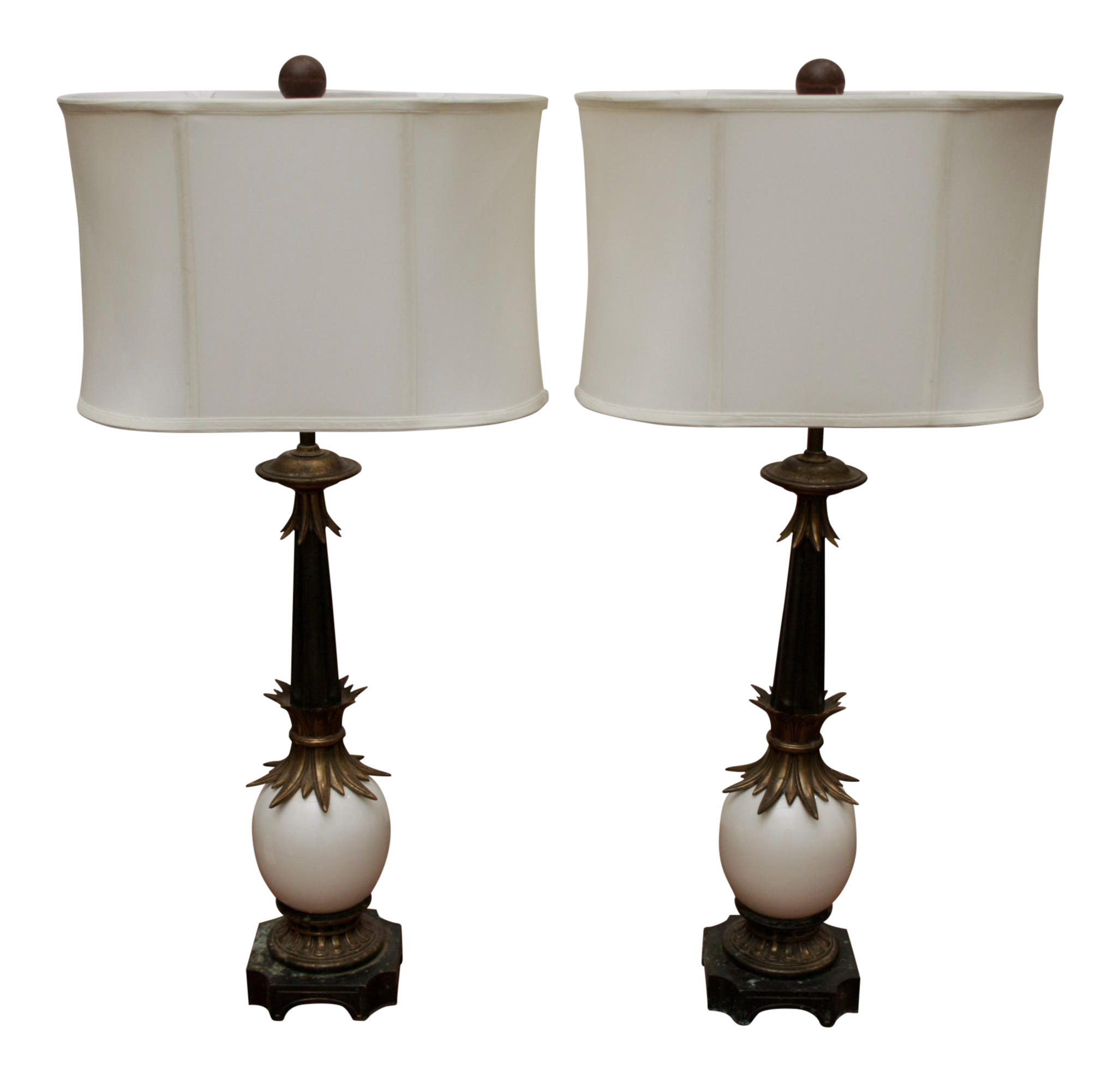 Stiffel ostrich egg brass lamps a pair image 1 of 11