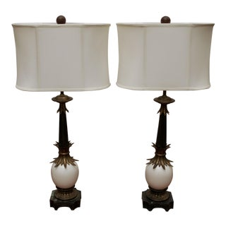 Stiffel Ostrich Egg Brass Lamps - A Pair