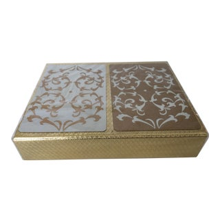 1960's Vintage Hollywood Regency Unopened Boxed Set of Crown Gold & White Playing Cards For Sale