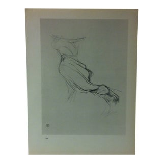 """Circa 1980 """"The Traveler From Cabin No. 54 1896"""" Print of a Toulouse-Lautrec Drawing For Sale"""