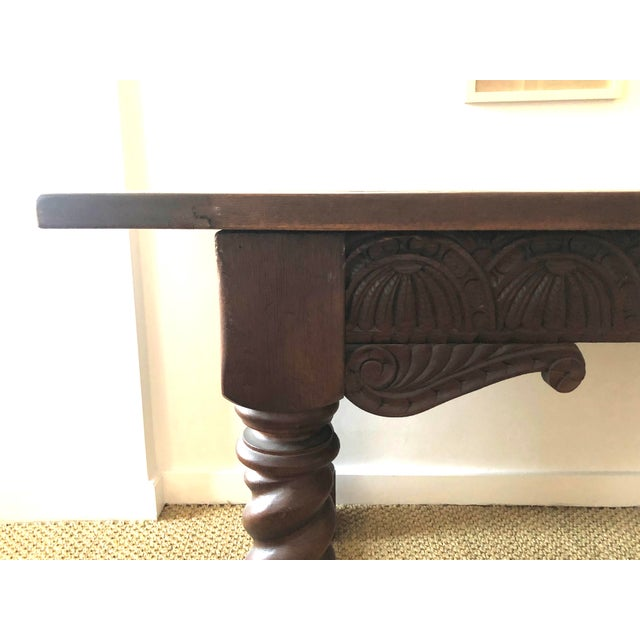 Jacobean Style Carved Oak Refectory Table For Sale - Image 4 of 13