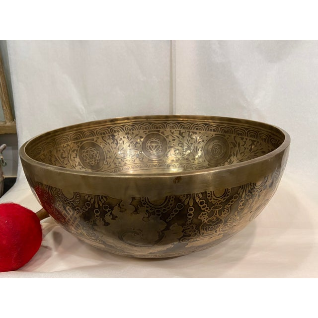 Mid 20th Century Hand Made Singing Bowl with Mallet - 2 Pieces For Sale - Image 10 of 13