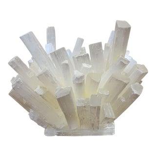 Sculptural White Selenite Mineral Cluster Vase For Sale