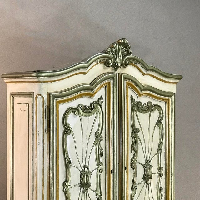 White Italian Hand Painted Secretary ~ Bookcase From Torino, Italy For Sale - Image 8 of 12