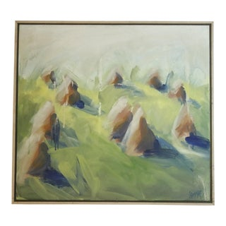 1990s Vintage Ed Edvarrson Impressionistic Hay in a Field Oil on Canvas Painting For Sale