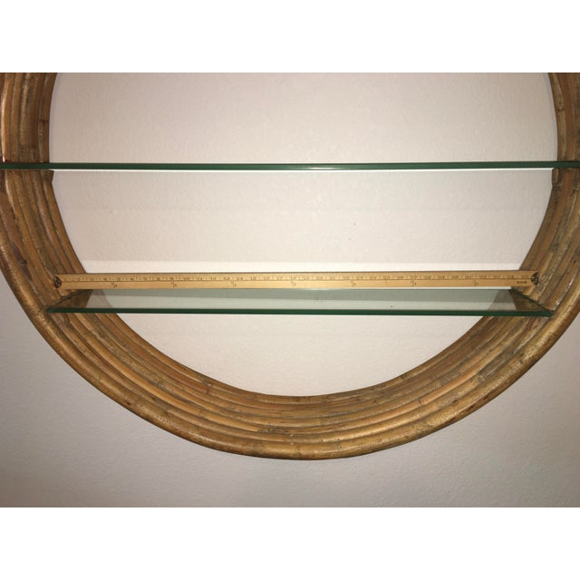 Mid Century Paul Frankl Large 7-Strand Bamboo Rattan Circular Wall Shelf Unit For Sale - Image 10 of 12