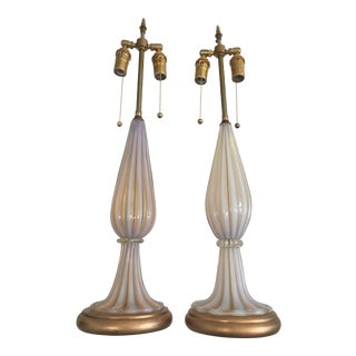 Pair of Opaline Pink Murano Glass Lamps For Sale