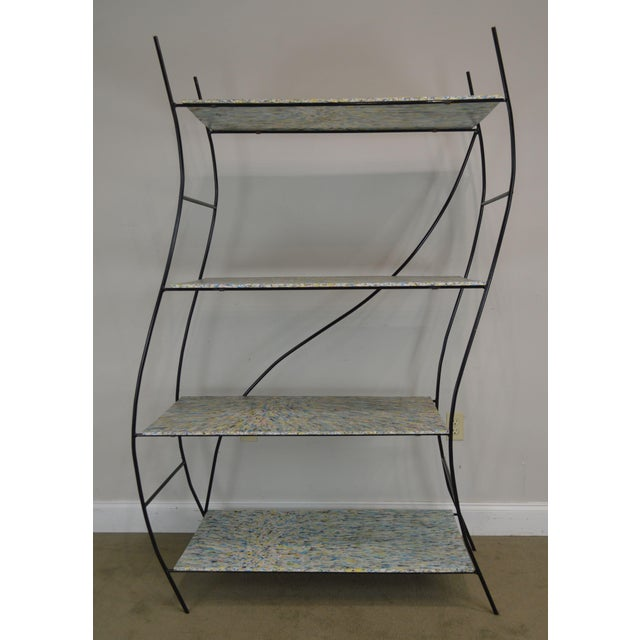 Whimsical Mid Century Modern Iron Etagere Display Rack For Sale - Image 9 of 12