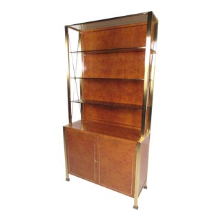 Mid-Century Burlwood Display Etagere After Willy Rizzo For Sale