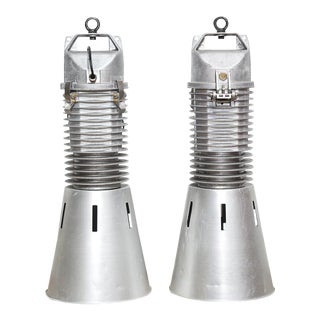 Vintage Industrial Philips Pendant Lights - A Pair For Sale