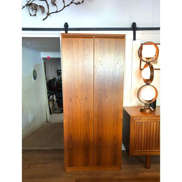Wood 1980s Vintage Danish Teak Wood Armoire With Adjustable Shelving For Sale - Image 7 of 7
