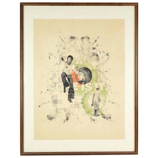 "1970's ""Coke Is It!"" Man Dancing Surrealist Drawing by Tucker Bobst For Sale"