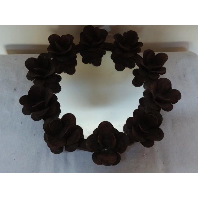 Rusted Iron & Mirror Plateau Candle Holder For Sale - Image 4 of 5