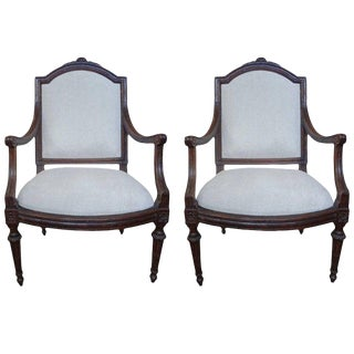 Late 18th Century Italian Walnut Chairs-A Pair For Sale