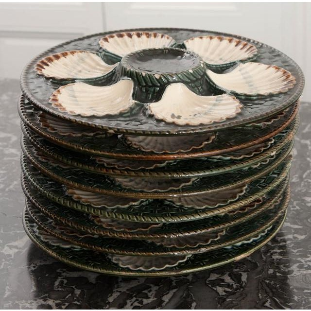 Set of Eight French Barbotine Longchamp Terre De Fer Oyster Plates For Sale - Image 9 of 10