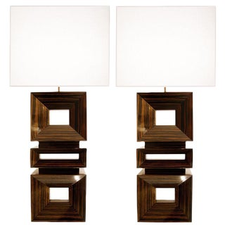 Pair of Craig Van Den Brulle Macassar Ebony Lamps / 1004 For Sale