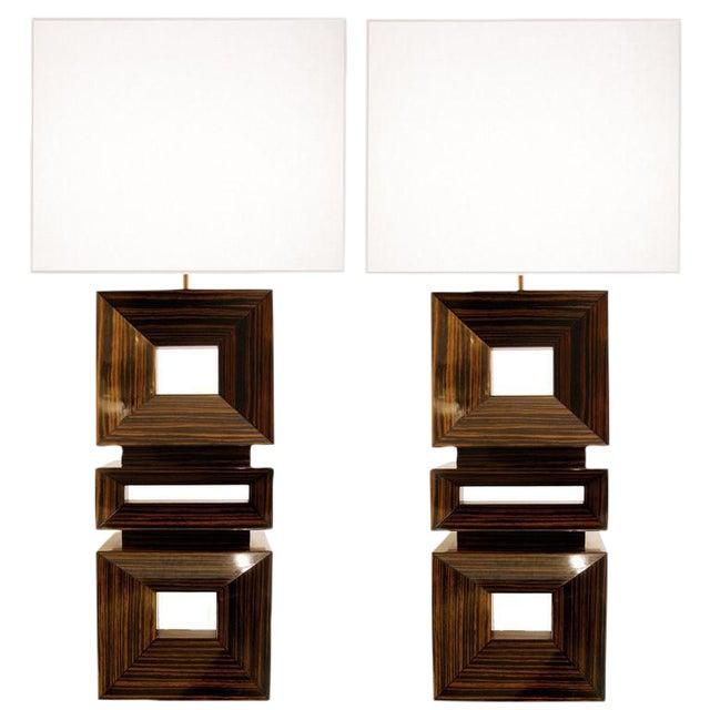Pair of Craig Van Den Brulle Macassar Ebony Lamps / 1004 For Sale