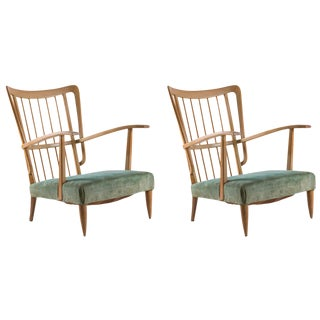 Remarkable Pair of Two Italian 1940s Lounge Chairs For Sale