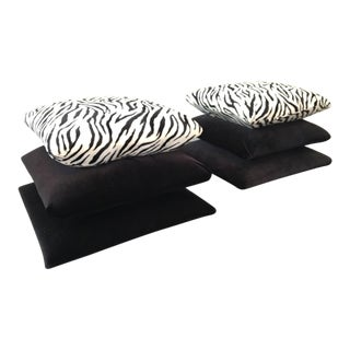 Hollywood Regency Stacked Pillow Velvet Zebra Footstools - A Pair For Sale