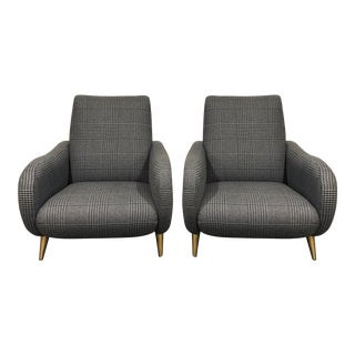 1960s Vintage Navy & Light Blue Wool Houndstooth Fabric Chairs - Set of 2 For Sale