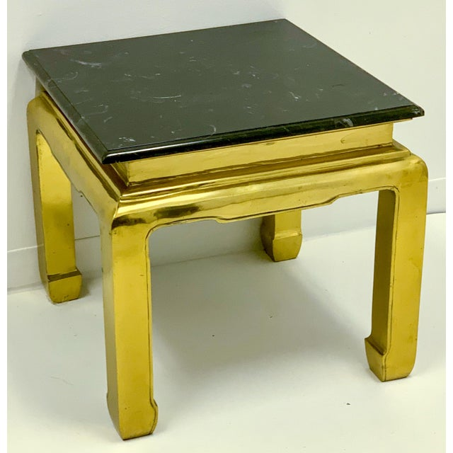 Metal Heavy Casted Brass & Marble Asian Style Table Att. Mastercraft For Sale - Image 7 of 7