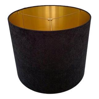 Custom Black Velvet Drum Lampshade with Gold Interior For Sale