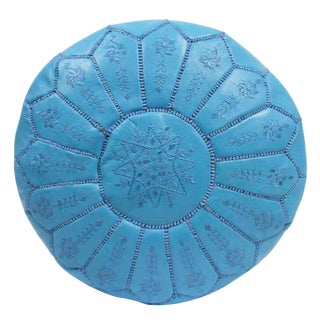 Embroidered Leather Pouf, Sky Blue Starburst Stitch For Sale