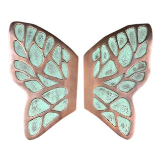 Bronze Butterfly Door Pulls - a Pair For Sale
